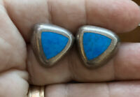Fine Vintage Thailand 925 Sterling Turquoise Inlay Stunning Pierced Earrings