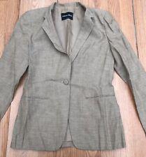 Giorgio Armani Mohair Blend Womens Blazer Linen Silk Black Label Sz 40 US 12 Tan
