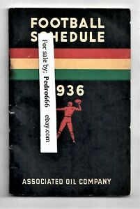 1936 Western Football Schedule Associated Oil Company Pacific South Cal SO RARE!