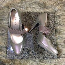 Gabriella Rocha Sz 8.5 M Tan Beige Gold Patent Mary Jane Strap Pumps Heels