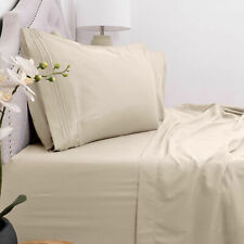 Egyptian Comfort 1800 Series 4 Piece Bed Sheet Set Deep Pocket 16' -Beige Queen