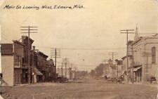 Main Street Looking West EDMORE, MI Street Scene 1911 Vintage Postcard