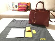 FENDI 2Jours Tote Shopper Leather Bag Scarlet Red Leder Handtasche Tasche Rot