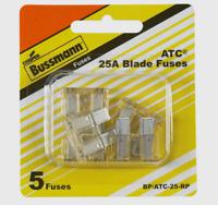 "Bussmann Buss 25 amps 32 volts ATC Automotive 0.8"" Blade Fuse 5pk BP/ATC-25-RP"