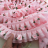 1M Pink Rose Flower Ruffle Lace Trim Chiffon Pleated Ribbon Crafts 5cm Width L