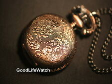 Vintage Style Victoria Flowers Necklace Lady Watch Copper Case 20mm Face WNS0021