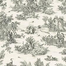 Textiles français Toile de Jouy Fabric (La Grande Vie Rustique) Anthracite Grey