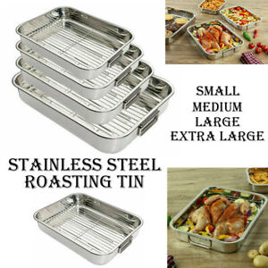 STAINLESS STEEL ROASTING OVEN PAN DISH MEAT BAKING ROASTER TIN GRILL RACK TRAY