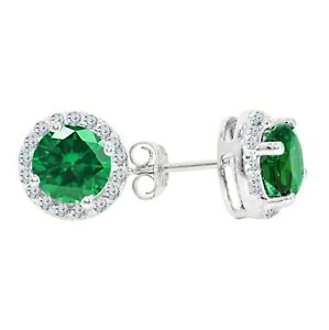 Real Sterling Silver2 Ct Emerald & Round Diamond Push Back Stud Earrings Jewelry