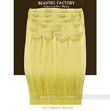 Double Weft Thick Deluxe 20 Inch Clip in 100 Remy Human Hair Extension Bleach Blonde 100 Gram