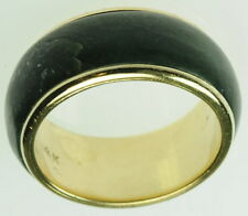 Ladies 14K Solid Yellow Gold Solid Jade Band Womens Estate Ring J189314