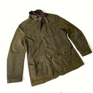 Men's Barbour Lutz Waxed Green Jacket Wax Coat Size XL