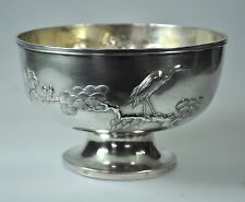 ANTIQUE CHINESE EXPORT SOLID SILVER PINE TREE BIRD BOWL CHINA 1900 HALLMARK
