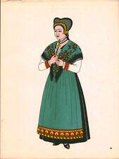 Gravure d'Emile Gallois costume des provinces françaises 1950 Savoie, Tarentaise