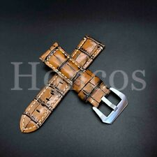 26MM Brown Leather Alligator Watch Band Strap Panerai Submersible 47MM Vintage