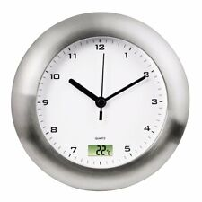Suction Mount Bathroom Clock with Digital Thermometer Easy Install