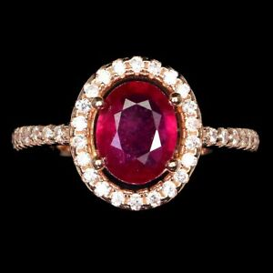Oval Red Ruby 8x6mm Cz 14K Rose Gold Plate 925 Sterling Silver Ring Size 8.5