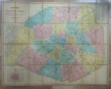 FRANCE MAP OF PARIS 1863 by ANDRIVEAU-GOUJON VERY LARGE ANTIQUE MAP ON LINEN