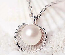 New Fresh Women Party Silver Pearl Shell Wedding Charm Jewelry Pendant Necklace