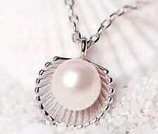 Women Fashion Fresh Silver Pearl Shell Wedding Charm Jewelry Pendant Necklace