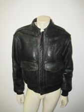 Vintage AVIREX A-2 Brown Leather Flight Jacket Stars Stripes Pinup Size SMALL