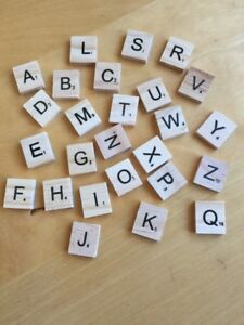 Brand New - Set Of Square Wooden Alphabet A-Z Scrabble Tiles Approx. 1.8cm x 2cm