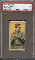 Rare 1909-11 T206 HOF Addie Joss Pitching Tolstoi Back Cleveland PSA 1