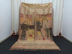 """Tribal Berber Boujad Moroccan Rug Wool Vintage Nomad Handmade Carpet 5'6"""" x 8'6"""""""