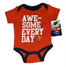 SUPERMAN BABY CREEPER ~SIZE 0/3 MONTHS~AWESOME EVERY DAY~RED AND BLACK~NEW