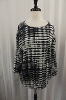 Chicos Womens Shirt Top Size 2 Large 10 12 Blouse Striped Gray Black 3/4 Sleeves