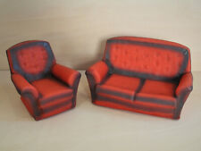Sindy Settee & Armchair - Vintage 1970's Pedigree, Red, Sofa, Couch, Living Room
