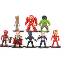 8pcs Marvel Avengers Infinity War Cake Topper Figures Base Bday Gift Toy Playset