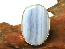 Blue Lace AGATE  Sterling  Silver 925  Gemstone  RING  -  Size  N  -  Gift Boxed