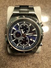 Citizens Mens Chronograph WR 100 Stainless Steel Watch Blue Face