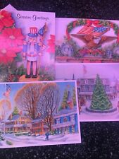 4 Unused Christmas Cards Matching Envelope Patriotic American Flag Uncle Sam