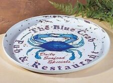 Food Safe Metal Serving Tray,  Blue Crab, Nautical Coastal, Beach Decor