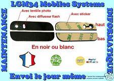 VITRE ARRIERE IPHONE 5S HAUT ET BAS, NOIR OU BLANC,  AVEC LENTILLES + STICKER
