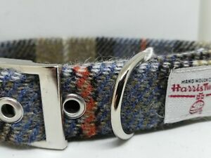 Blue and Beige check Harris Tweed dog collar various sizes and leads