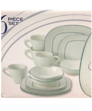 Mikasa Swirl Square Banded Blue Set Includes 15 Pieces Dinnerware
