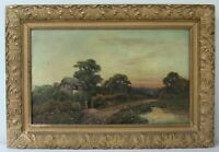 "LISTED EDWIN COLE 1968-1935 BRITISH ""COTTAGE LANDSCAPE AT SUNSET"" OIL PAINTING"