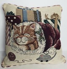 Christmas Stocking Tapestry Cat and Mouse Throw Pillow Gingham Check Back 16""