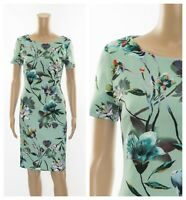 ex M&S Marks and Spencer Green Floral Print Bodycon Versatile Dress