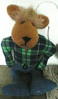 Lonesome Bear,punk hair,Green open check shirt,blue jeans,buckle & lets dance