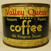 Old Vintage 1940s VALLEY QUEEN COFFEE TIN CAN ONE POUND GRAPHIC WAUSAU WISCONSIN