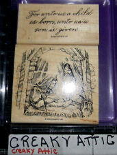 STAMPIN UP A CHILD IS BORN 2 RUBBER STAMPS CHRISTMAS MANGER MARY JESUS JOSEPH