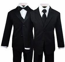 Boys Kids Children Formal Dress Black Suit Tuxedo Toddler 2T-14 Choose Style