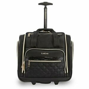 """$180 NWT BEBE 15"""" Under-Seat Two Wheel Suitcase Black Carry On Luggage"""