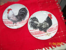 CRACKER BARREL PLATE ROOSTER(PAIR)BY SUSAN  WINGET-RD. 8 INCH