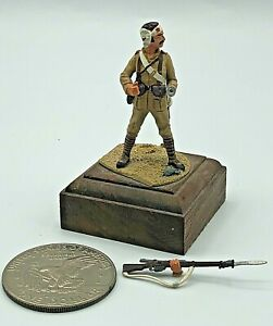 Vintage Hand Painted Lead Metal Toy Soldier Wounded w/ Custom Base SEE DETS