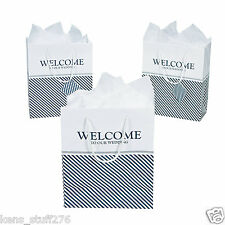 "Nautical Welcome to Our Wedding Gift Bags, 7"" x 9"" w/ Tag, Reception, Hotel Gift"
